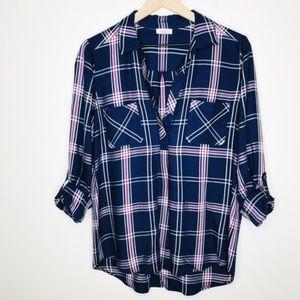 Soft Joie Blue Pink Plaid Button Down Cuff Sleeve